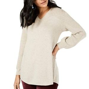 Style & Co Ribbed Panel Long Sleeve Tunic Sweater